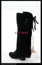 New Women's Sexy Low Heel Knee High Boots Back Lace Up Shoes AU All Sz Y805
