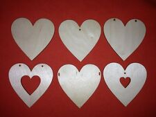 10 HEARTS  WOODEN TAGS 8cm BLANK WOODEN SHAPES / XMAS / DECOUPAGE / WEDDING