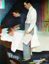 Freedom from Fear Family Bed Norman Rockwell Saturday Evening Post 3D Anaglyph