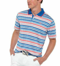 PUMA Golf Rickie Fowler Mens Variagated Stripe Polo White Surf Web pick size