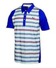 PUMA Golf 2012 Rickie Fowler Mens Duo-Swing Stripe Polo White Surf Web pic size