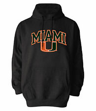 MIAMI HURRICANES DARK GREY ADULT EMBROIDERED HOODED SWEATSHIRT NEW