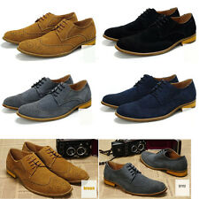 Mens Dress Shoes Lace up Brogue Oxfords Wing Tip Suede Upper Leather Lined Forma