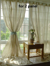 2 X Tab Top Cotton Linen Crochet Lace Beige Curtain Panel French Country Rustic