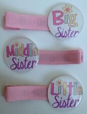 Boutique Girl Hair Clips Big Middle Little Sister Pink Spring Daisy