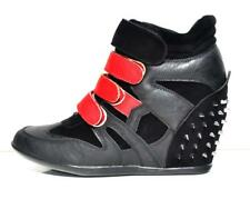 Womens Black-Red Faux Leather Velcro High Top Wedge Hidden Heels Sneaker Boots