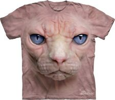 The Mountain Adults Unisex Big Face Animal T-Shirt.Hairless Pussy Cat Sphynx Cat