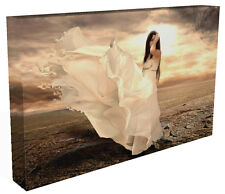 Fantasy Canvas Print Wall Art Premium Fantasy Girl  Flowing Dress Picture Framed
