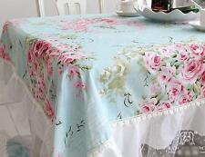 Shabby French Country Provincial Cottage Chic Floral Blue Table Cloth 008