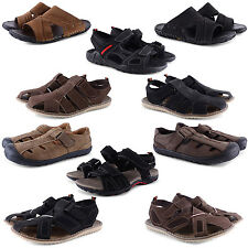 NEW MENS SUMMER BEACH HOLIDAY SLIP ON VELCRO SANDALS FLIP FLOPS GENUINE LEATHER
