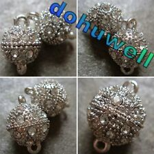 10PCS 8mm 10mm 12mm 14mm 16mm Silver Plated Rhinestone Magnetic Clasp Findings