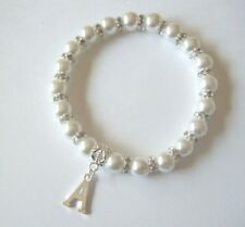 INITIAL LETTER CHARM PEARL & CRYSTAL  BRACELET IDEAL CHRISTMAS / BIRTHDAY GIFT