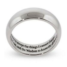 Silver Serenity Prayer Ring Stainless Steel Recovery 12 Step Sobriety AA 5-13