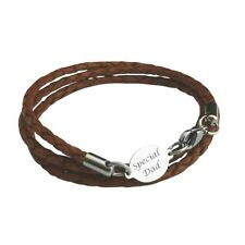 Engraved Gift for Dad Daddy Man Brown Black Leather Wrap Bracelet Mens Jewellery