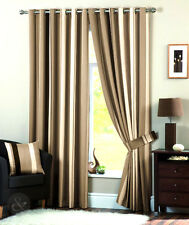 Striped Faux Silk Curtains - Beige Cream Eyelet Ring Top Lined Curtain Pair