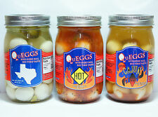 SINGLE 16OZ JAR PICKLED QUAIL EGGS REGULAR HOT CAJUN QUEGGS