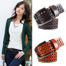 6 Colours Womens Real Leather Oxhide Belt Lady's Dots Buckle Cowhide Waistband