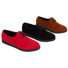 LADIES LACE UP FLAT CASUAL BROGUES WOMEN FLAT CREEPERS FAUX SUEDE SHOES SIZE UK