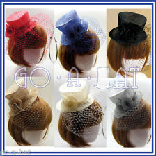Ladies Sinamay Rose Veil Bridal Fascinator Wedding Mini Top Hat MULTI COLORS