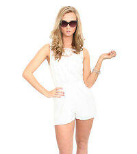 Allie Sleeveless Lace Playsuit in White
