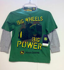 NEW John Deere Boys Green Big Wheels Layered L/S T-Shirt Size 7 With Toy