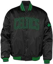 Boston Celtics NBA Licensed Majestic Embroidered Black Satin Jacket Big Sizes