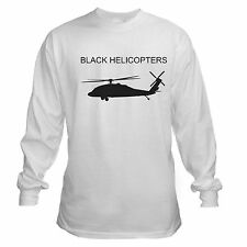 BLACK HELICOPTER CONSPIRACY THEORY CONSERVATIVE GOVERNMENT LONG SLEEVE T-SHIRT