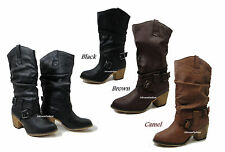 Western Women's Cowgirl / Cowboy Slouchy  Mid Knee High Boots Heels w/ buckles
