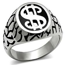 $ Dollar Sign Money Ring Stainless Steel Celtic Silver Black Men Jewelry