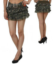 Camouflage Fashionable Mini Tiered Skirt with Lace and Attached Belt