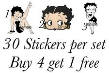 30 BETTY BOO BOOP NAIL ART DECALS STICKERS/TRANSFERS PARTY FAVORS MIX & MATCH