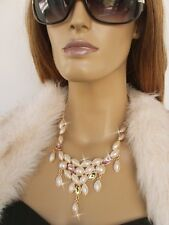GOLD TONE METAL CHAIN FAUX WHITE PEARL GREEN PURPLE JEWEL STATEMENT NECKLACE UK