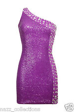 PURPLE DIAMANTE EMBELLISHED FULL SEQUIN ONE SHOULDER PARTY BODYCON DRESS 8-16