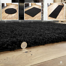 BLACK SMALL X EXTRA LARGE MODERN RUG - THICK 5CM HIGH PILE NON-SHED SHAGGY RUGS