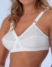 NEW FIRM CONTROL SOFT CUP EMBROIDERED BRA Cross heart WHITE BR211