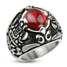 Stainless Steel Royal Crown Red Stone Center Cast Ring