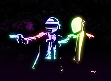 DAFT PUNK - PUNK FICTION MIX- 100% COTTON framed canvas art print, ready to hang