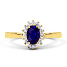 9ct Yellow Gold Blue Sapphire & Diamond Floral Engagement Ring 0.16ct 2mm