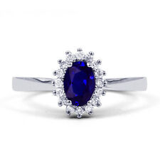 18ct White Gold Blue Sapphire & Diamond Floral Engagement Ring 0.16ct All Sizes