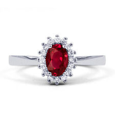 NEW 18K White Gold Ruby & Diamond Halo Engagement Ring - 0.16ct 2mm