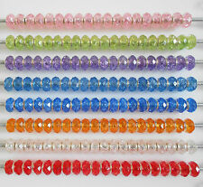 6 X BROKEN GLASS FACETED ACRYLIC BEADS VARIOUS COLOURS EUROPEAN CHARM BRACELET