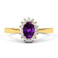 Natural 18ct Yellow Gold Amethyst & Diamond Halo Engagement Ring 0.16ct 2mm