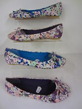 LADIES FLORAL SLIP ON SHOES BY SPOT ON F8796
