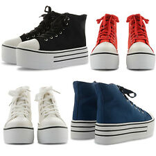 NEW LADIES COMFY ON TREND LACE UP HI TOP TRAINER FLATFORMS MEDIUM HIGH PLATFORMS