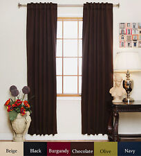 Rod Pocket Thermal Insulated Blackout Curtain 96 Inch Length Pair
