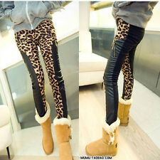 Sexy Women Tights Leopard Splicing Leather Leggings Stretch Skinny Pants Trouser