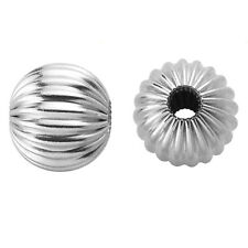 New Sterling 925 Silver Round Fluted 2 hole Hollow Spacer Beads Corrugated Charm