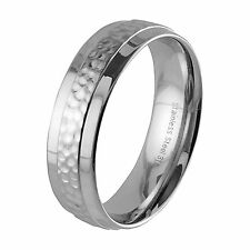 Stainless Steel Wedding Band Hammered Center Stripe And Polished Finish 7mm Wide