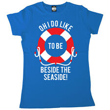 OH I DO LIKE TO BE BESIDE THE SEASIDE WOMENS PRINTED BRITISH SUMMER T-SHIRT
