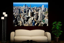 Canvas Giclee Home Prints Fine Chicago Skyline Buildings Photo Print Colorful